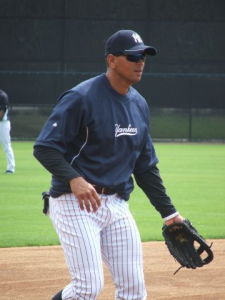 Alex  Rodriguez taking ground balls