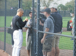 Joe Girardi signing autographs for fans