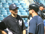 Joe Girardi having a word with Brett Gardner