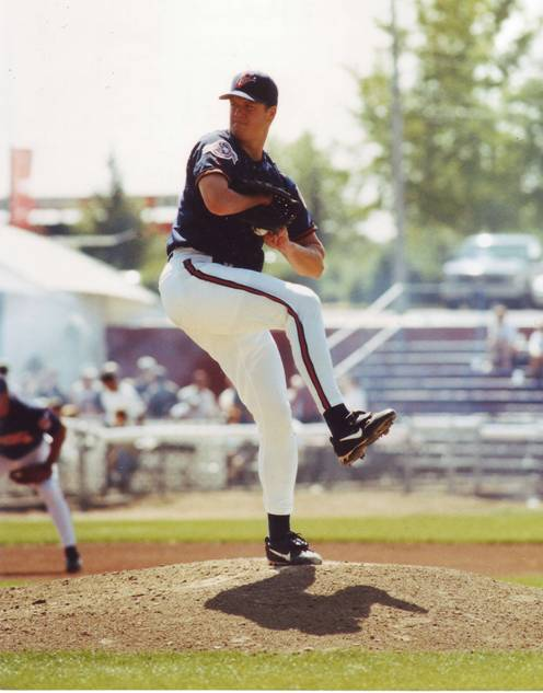 Abbott while pitching for the Calgary Cannons in 1998 (Photo courtesy of Wikimedia Commons)