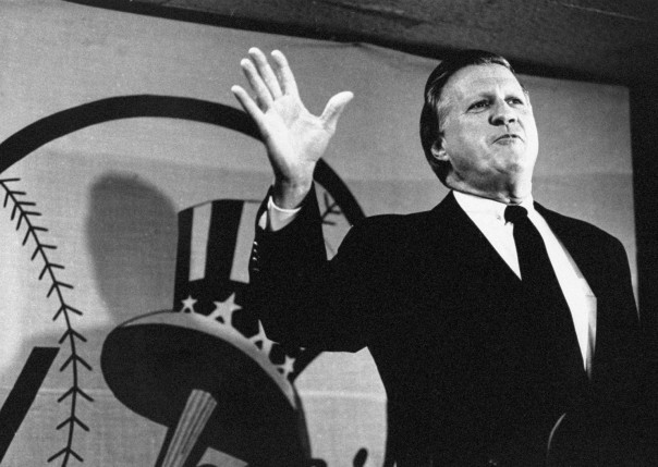 New Yorik Yankees' owner George Steinbrenner speaks at a new